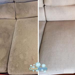 limpeza de sofa antes e depois
